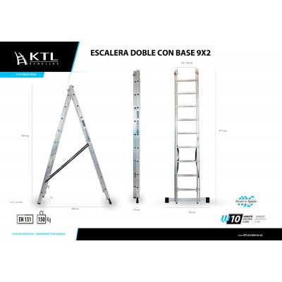 Escalera Doble Extensión Manual 12x2 Modelo 3012